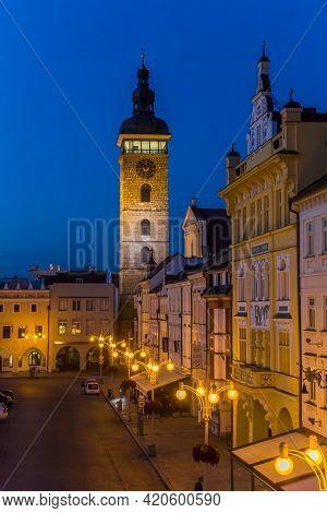 Ceske Budejovice, Czech Republic - September 18, 2020: Historic Buildings At The Blue Hour Evening L
