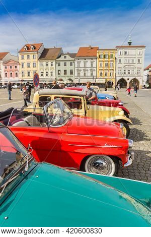 Ceske Budejovice, Czech Republic - September 19, 2020: Classic Cars In A Row On The Market Square Of