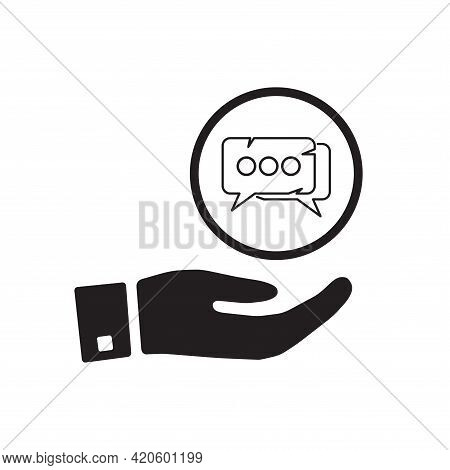 Pictograph Of Speech Sign In Hand. Chatting, Communicate Logo. Flat Vector Icon For Apps And Website