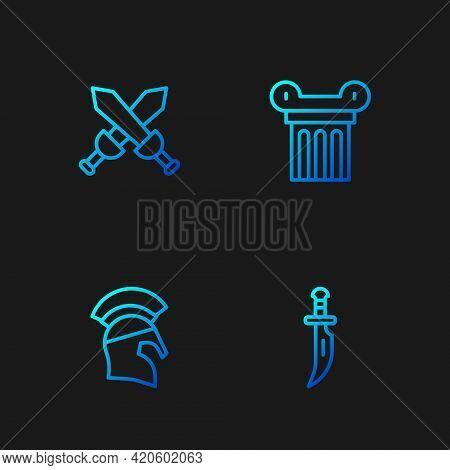 Set Line Dagger, Greek Helmet, Crossed Medieval Sword And Ancient Column. Gradient Color Icons. Vect