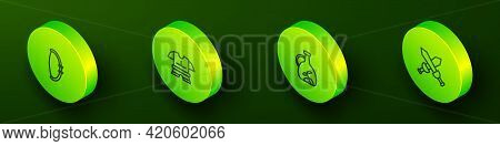 Set Isometric Line Medieval Bow, Body Armor, Bottle Of Olive Oil And Crossed Medieval Sword Icon. Ve