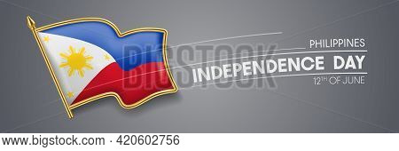 Philippines Independence Day Vector Banner, Greeting Card