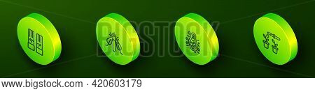 Set Isometric Line Medical Rubber Gloves, Experimental Insect, Bacteria And Pipette And Plant Icon.