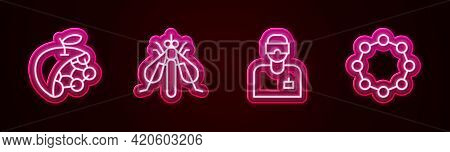 Set Line Biological Structure, Experimental Insect, Laboratory Assistant And Chemical Formula. Glowi