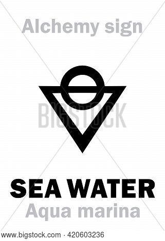 Alchemy Alphabet: Sea Water (aqua Marina), Seawater, Salted Water (aqua Salsa), Saline, Brine; Also: