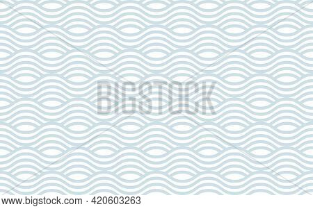 Gray And White Wavy Striped Oriental Background. Seamless Vector Pattern For Design