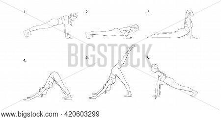 Yoga Vinyasa For Strength And Energy Accumulation. Yogi Girl In Hatha Sequence. Vector Illustration