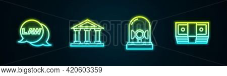 Set Line Law, Courthouse Building, Flasher Siren And Bribe Money Cash. Glowing Neon Icon. Vector