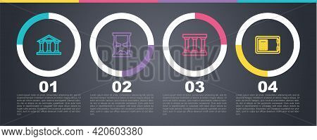 Set Line Courthouse Building, Old Hourglass, Prison Window And Safe. Business Infographic Template.