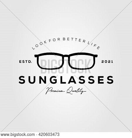 Sunglasses Minimalist Vintage Logo Template Vector Illustration Design. Simple Eyeglasses, Optic Gla