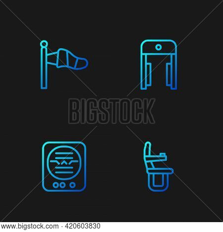 Set Line Airplane Seat, Attitude Indicator, Cone Meteorology Windsock And Metal Detector Airport. Gr