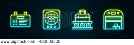 Set Line Airport Board, Attitude Indicator, Conveyor Belt With Suitcase And Aircraft Hangar. Glowing