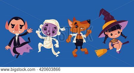 Halloween Monsters. Halloween Characters - Dracula, Mummy, Wolf, Witch. Vector Illustration In Carto