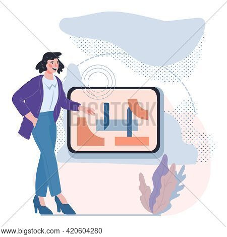 Business Woman Making Presentation Pointing At Presentation Board. Seminar, Webinar And Coaching, Te