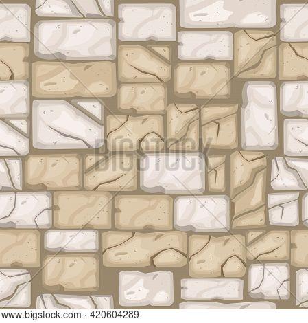 Cartoon Brick Wall Seamless Pattern, Vector Stone Floor Texture, Rock Pavement Tiles, Street Backgro