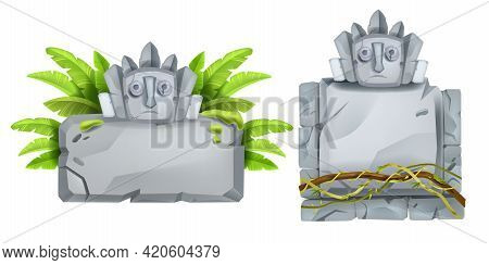 Jungle Stone Sign Board, Vector Cartoon Rock Aztec Tablet, Maya Totem Face, Banana Leaves, Vine, Lia