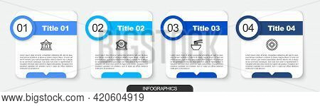 Set Line Chinese House, Gong, Asian Noodles Bowl And Yuan Currency. Business Infographic Template. V