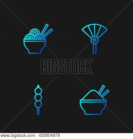Set Line Rice In Bowl With Chopstick, Meatballs On Wooden, Asian Noodles And Chinese Or Japanese Fol