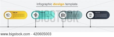 Set Line China Flag, Gong, Chinese Man And . Business Infographic Template. Vector