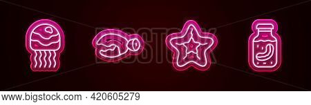 Set Line Jellyfish, Lobster Or Crab Claw, Starfish And Sea Cucumber In Jar. Glowing Neon Icon. Vecto
