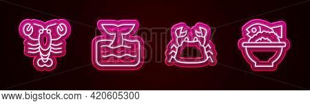 Set Line Lobster, Whale Tail In Ocean Wave, Crab And Served Fish On Bowl. Glowing Neon Icon. Vector