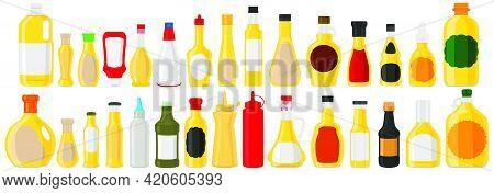 Illustration On Theme Big Kit Varied Glass Bottles Filled Liquid Cheese Sauce. Bottles Consisting Fr