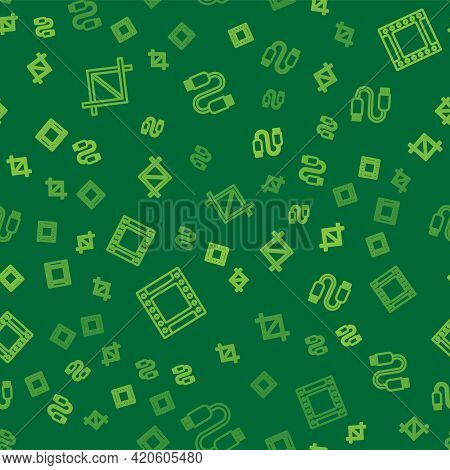 Set Line Picture Crop Photo, Camera Roll Cartridge And Usb Cable Cord On Seamless Pattern. Vector