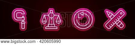 Set Line Micrometer, Scales Of Justice, Radius And Crossed Ruler And Pencil. Glowing Neon Icon. Vect
