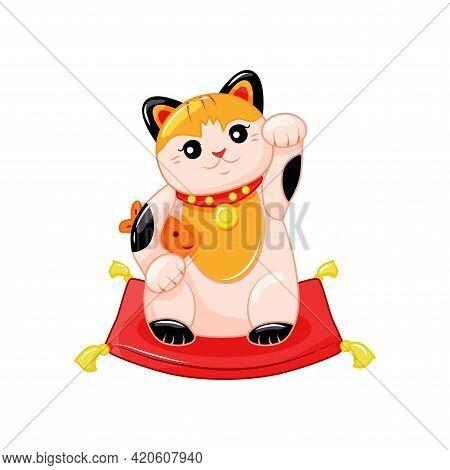 Maneki Neko, A Symbol Of Good Luck And Wealth. Japanese Cat With Raised Paw And Fish. Cartoon Style.