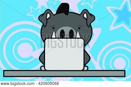 Cute Online Studing Boar Kid Character Cartoon In Vector Format