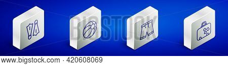 Set Isometric Line Rubber Flippers For Swimming, Beach Ball, Swimming Trunks And Suitcase Icon. Vect