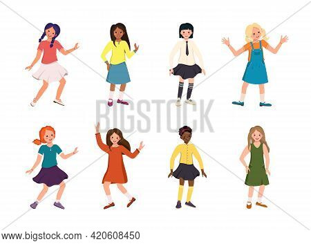 Girls Or Teenagers Of Different Nationalities, With Dark, Blonde And Red Hair, Black Or Fair Skin. H