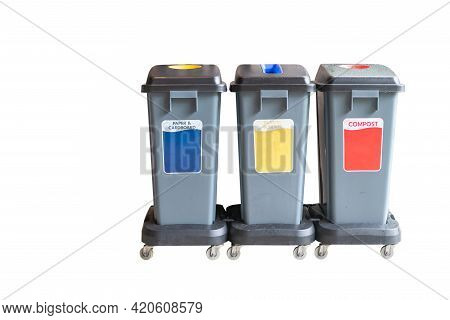 Trash In Garbage Cans With Sorted Garbage. Recycling Garbage Separation Collection And Recycled Isol