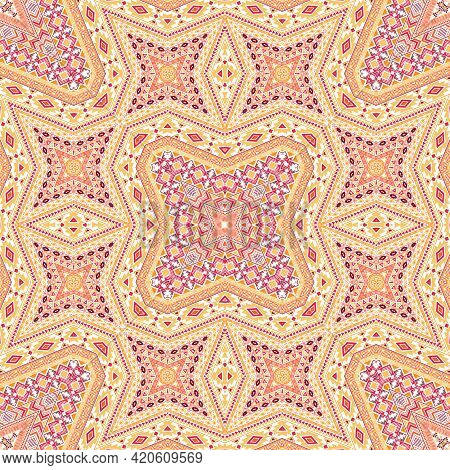 Moroccan Seamless Pattern Graphic Design. Vintage Geometric Texture. Textile Print In Ethnic Style.