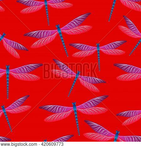 Dragonfly Girlish Seamless Pattern. Repeating Clothes Textile Print With Damselfly Insects. Flying