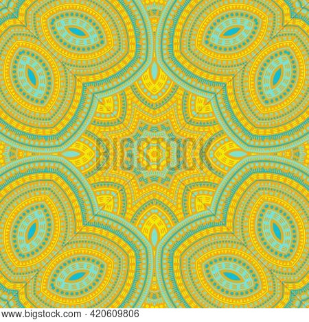 Islamic Traditional Floral Vector Seamless Ornament. Tile Patchwork Design. Ornate Oriental Pattern.