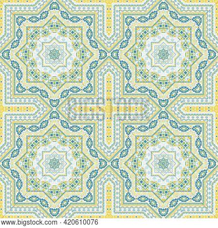 Delicate Portugese Azulejo Tile Seamless Ornament. Geometric Texture Vector Swatch. Wrap Print Desig
