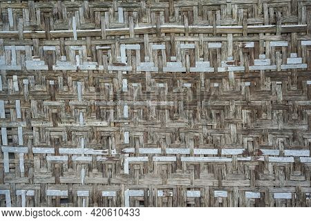 Old Bamboo Weaving Pattern Concept Background. Texture Wood Weaving Bamboo Seamless Patterns Abstrac