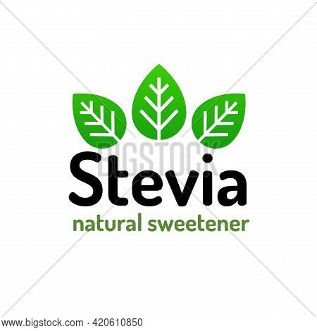 Stevia Leaves Natural Organic Sweetener Substitute Isolated On White Background. Eco Stevia Icon For