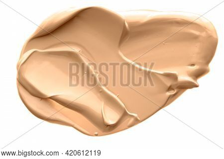 Beige Beauty Cosmetic Texture Isolated On White Background, Smudged Makeup Emulsion Cream Smear Or F