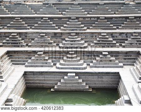 Picture Of A Pushkarani, Sacred Water Tanks Of Hampi From The Era Of Vijayanagar Empire
