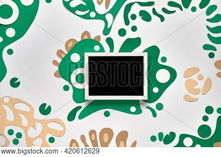 Abstract Fluid Shapes, Paper Art In Green, Beige. Frame With Text Space, Place For Text, Copy-space.