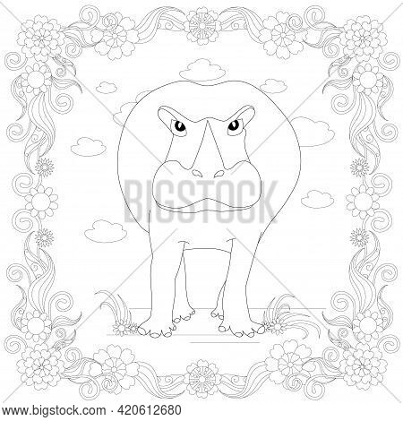 Hippo In Floral Frame Coloring Page Monochrome Art Design Element Stock Vector Illustration For Web,