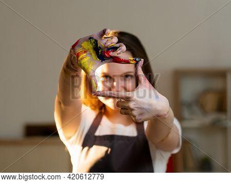 Color Life. Female Artist. Creative Image. Art Studio. Inspiration Muse. Happy Artistic Woman In Apr