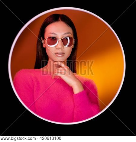 Beauty Portrait. Fashion Accessories. Glamour Vogue. Confident Asian Girl In Pink In Sunglasses On G