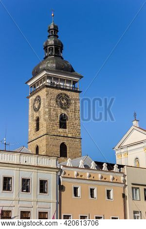 Historic Black Tower At The Central Market Square Of Ceske Budejovice, Czech Republic