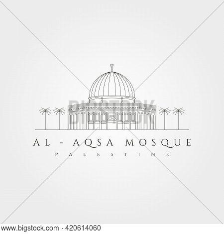 Al Aqsa Mosque Minimal Logo Vector Symbol Illustration Design, Al-isra Wal-mi'raj Masjidil Al-aqsa L
