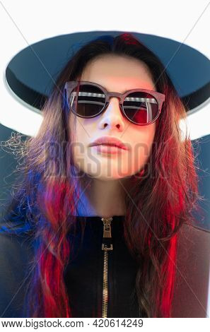Cyber Fashion. Futuristic Portrait. Digital Beauty. Art Portrait Of Mysterious Cyborg Woman In Sungl