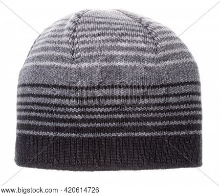 Striped gray knitted winter beanie hat isolated on white background