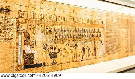Turin, Italy - Circa May 2021: Ancient Egyptian Papyrus With Hieroglyphic Funerary Text. Circa 1550